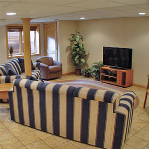 A Finished Basement Living Room Area in Tewksbury, MA