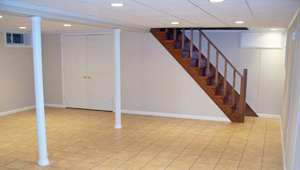 A complete finished basement system in a Malden home
