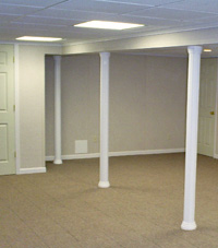 Smartpost column wrap on a basement in Somerville