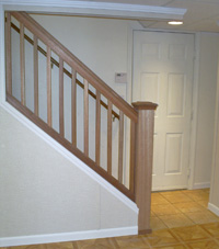 Renovated basement staircase in Framingham